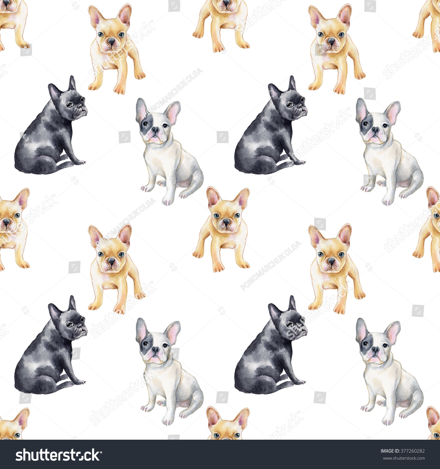 Watercolor seamless pattern of french bulldog Pet puppy background Animal wallpaper