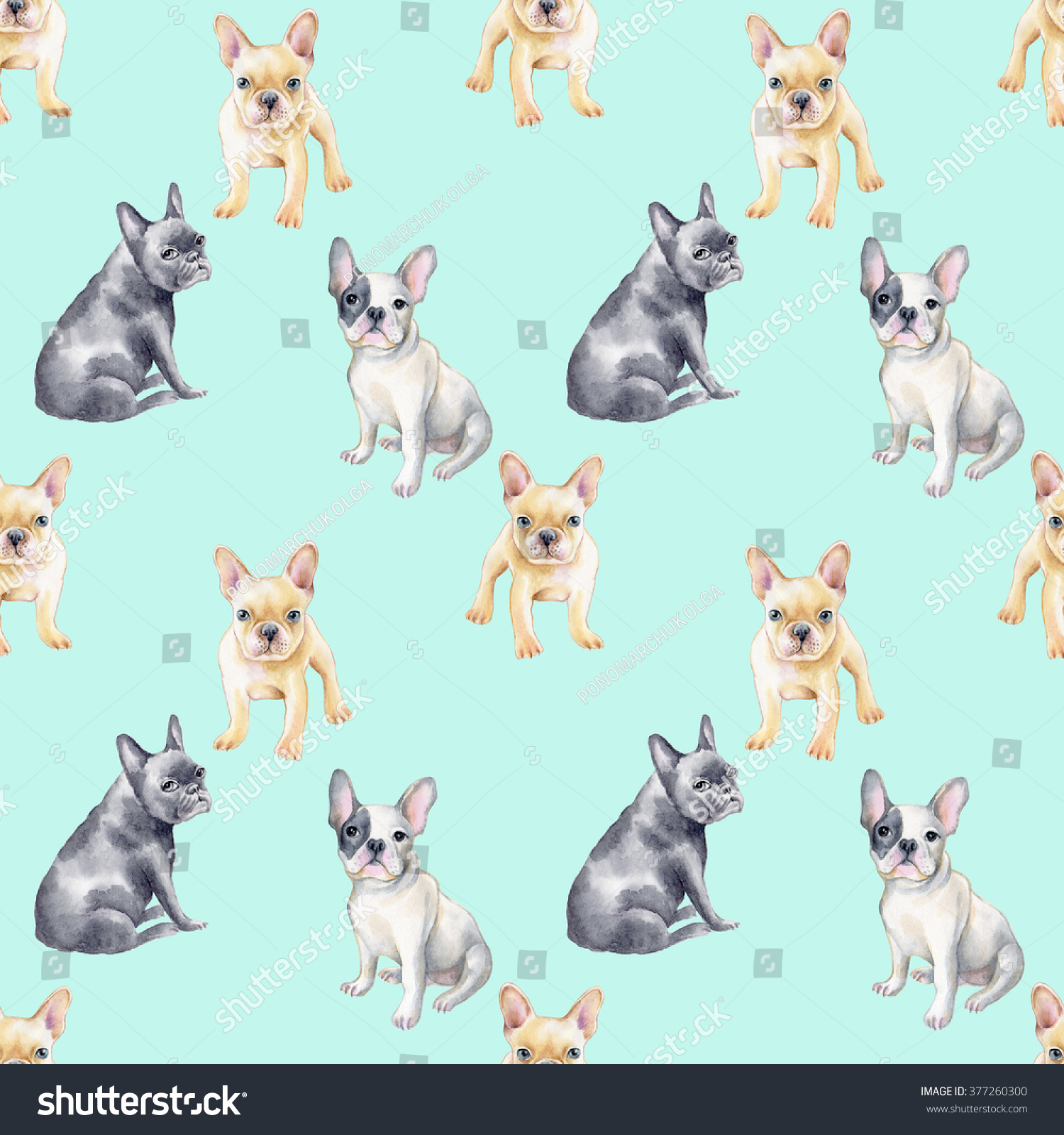 watercolor seamless pattern french bulldog pet stock illustration 377260300 shutterstock french bulldog clipart black and white French Bulldog Face Outline