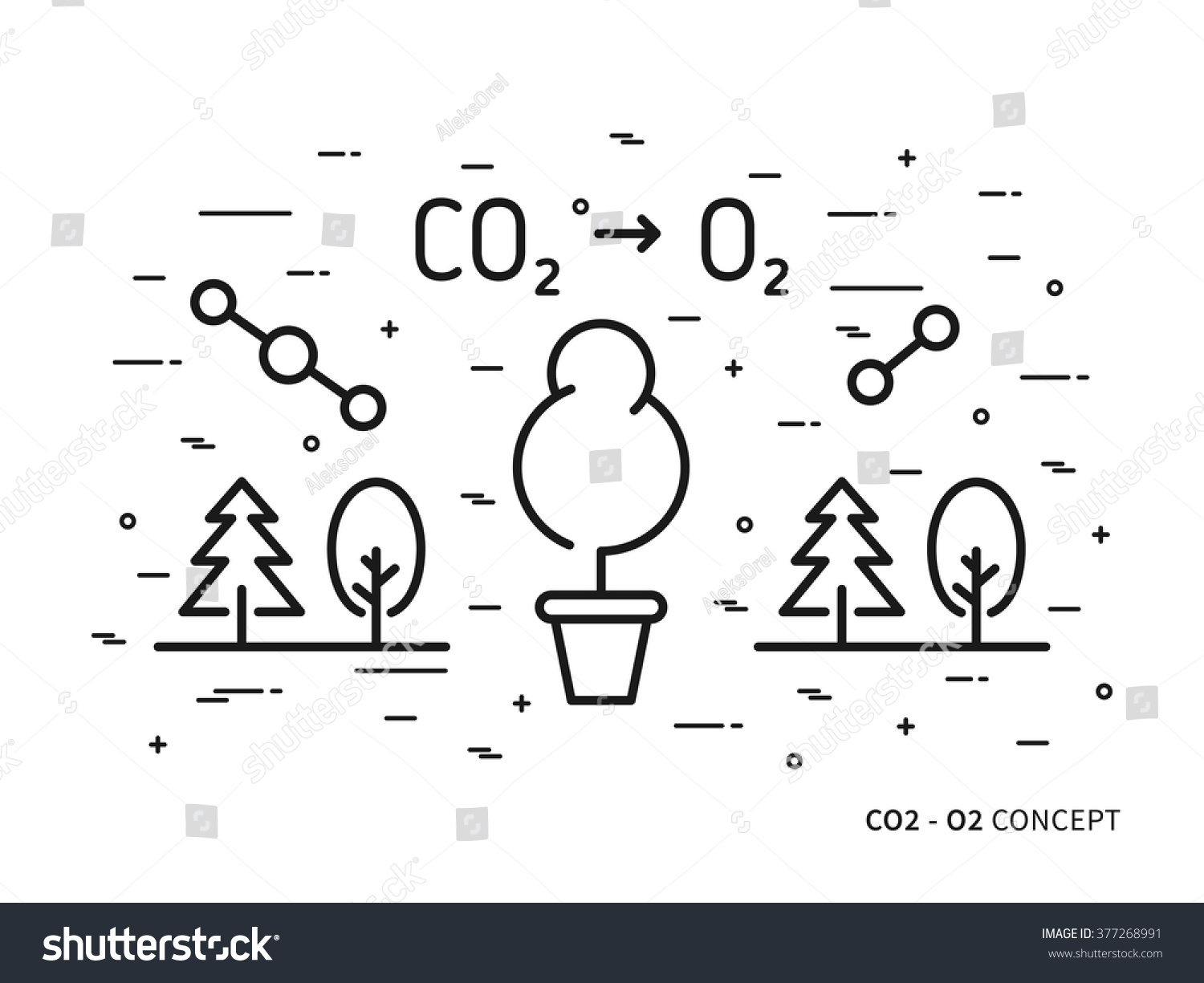 Co 2 Carbon Dioxide O 2 Oxygen Linear Stock Vector Royalty Free