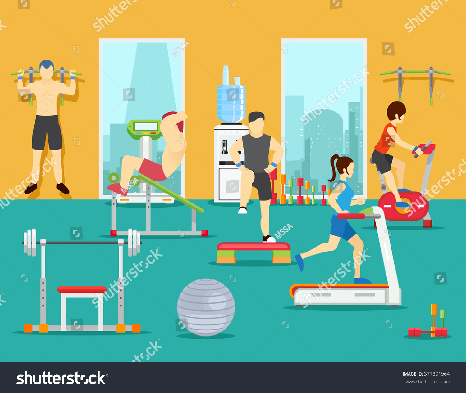 Training people sport fitness man workout stock vector