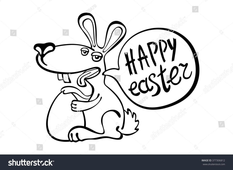 Happy Easter Easter Bunny Ears Art Stock Illustration 377306812 ...