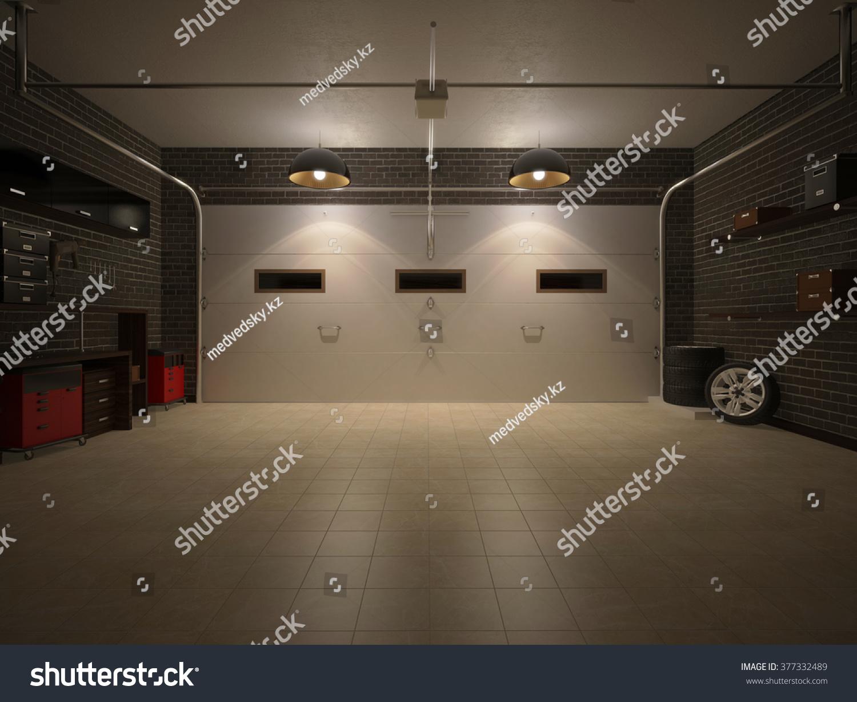 Garage interior Gray 3d Illustration Of Night Garage Interior Shutterstock Royalty Free Stock Illustration Of Illustration Night Garage