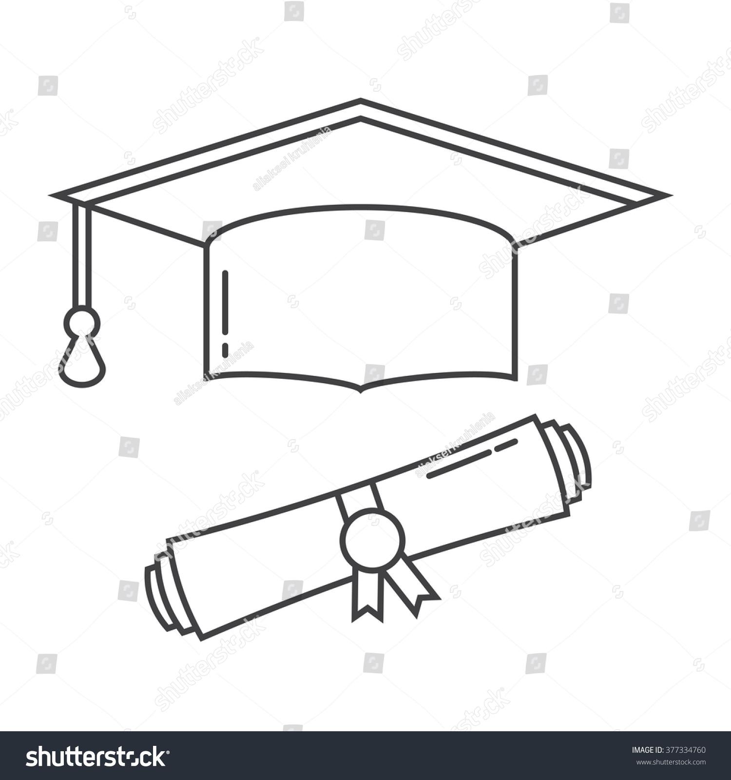 graduation hat diploma scroll line art stock vector  graduation hat and diploma scroll line art vector icon graduation celebration cap linear pictogram for