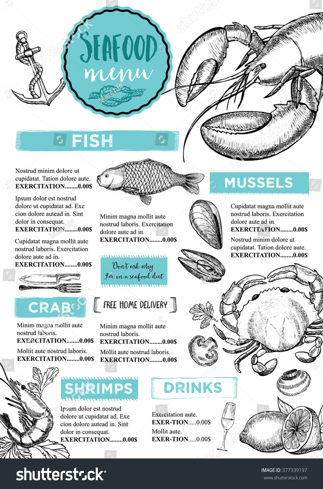 Seafood restaurant brochure menu design vector stock