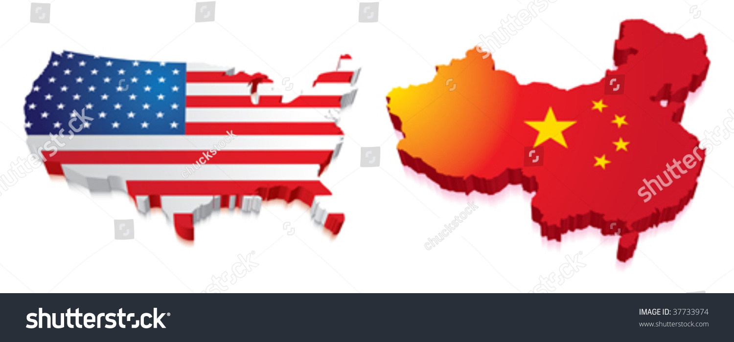 D Map China Us Flag Stock Vector Shutterstock - Us 3d map