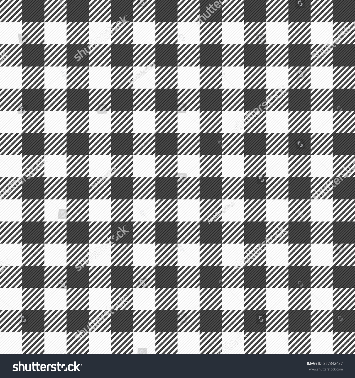 Vector Illustration Of A Black And White Plaid Tablecloth