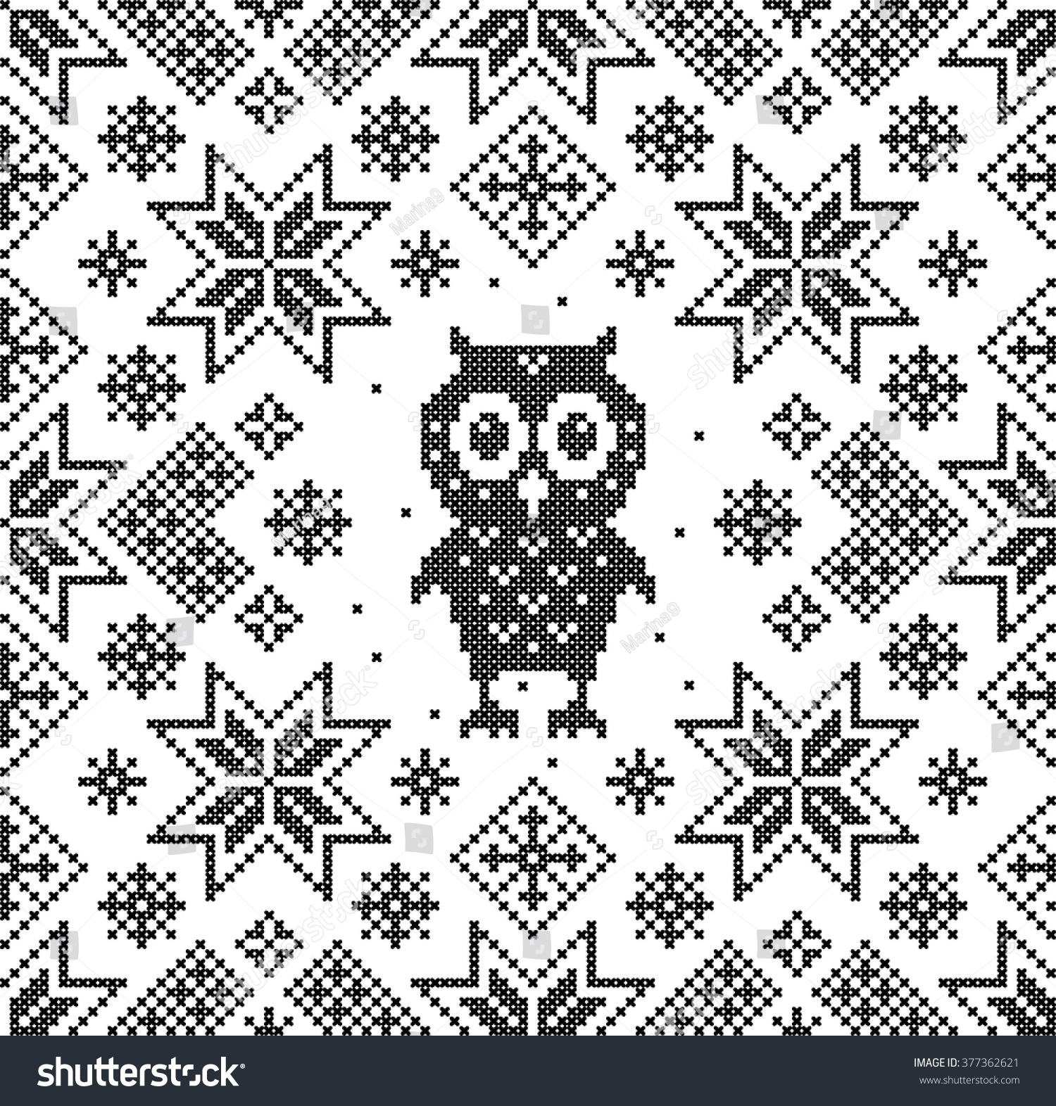 Owl Cross Stitch Christmas Sweater Design Stock Vector (Royalty Free ...