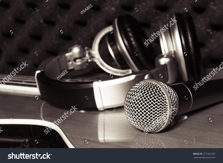 Headphones Music Microphones 4500x4100 Wallpaper: Microphoneheadphone On Classic Guitar Background Home