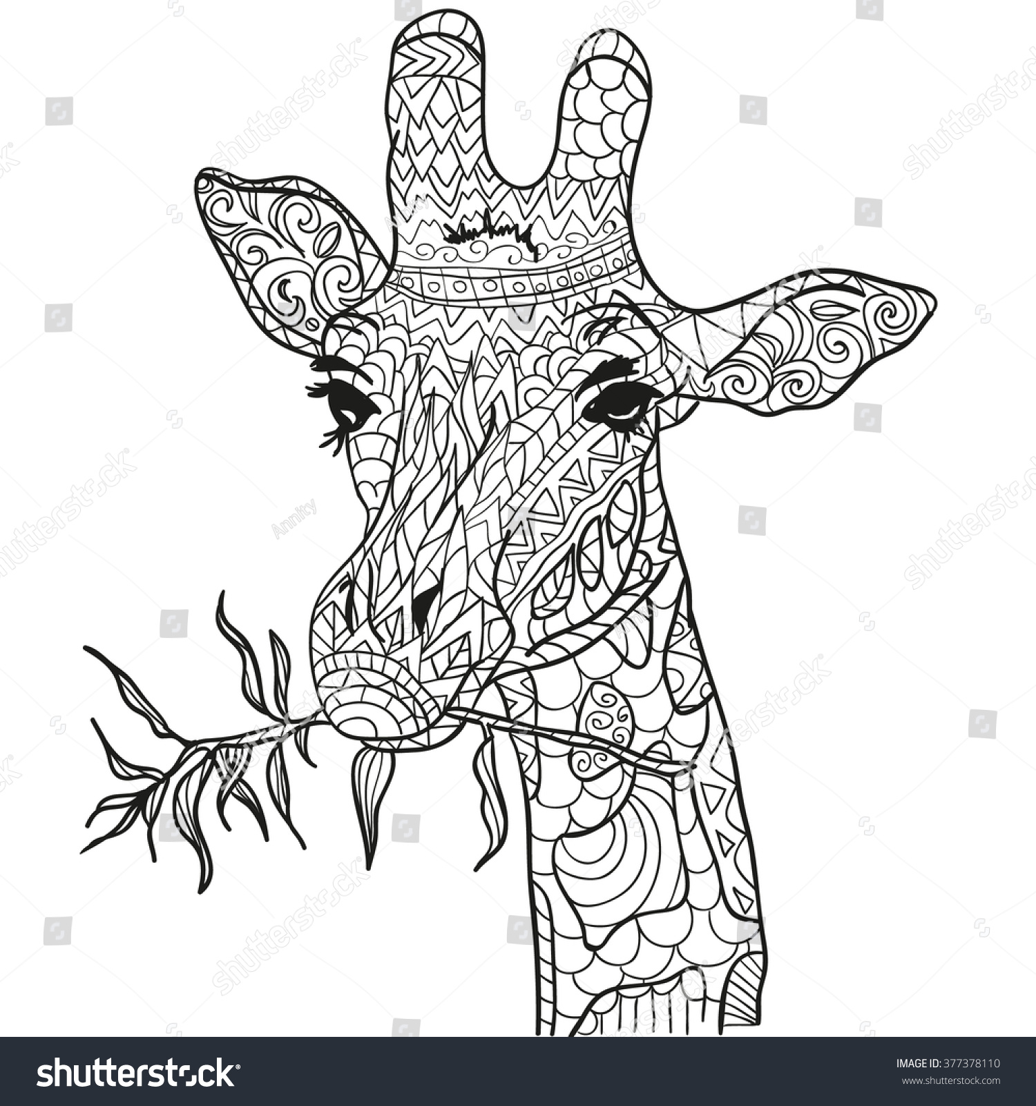 Coloring pages for adults giraffe - Hand Drawn Coloring Pages With Giraffe Zentangle For Adult Anti Stress Coloring Books Or