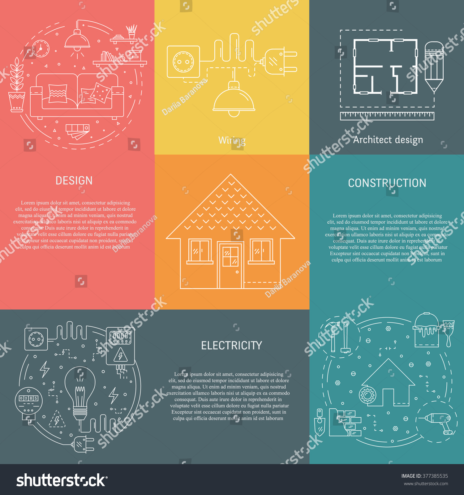 Vector Set Templates House Repair Elements Stock Royalty Wiring Strategy Of With Construction Electricity Interior