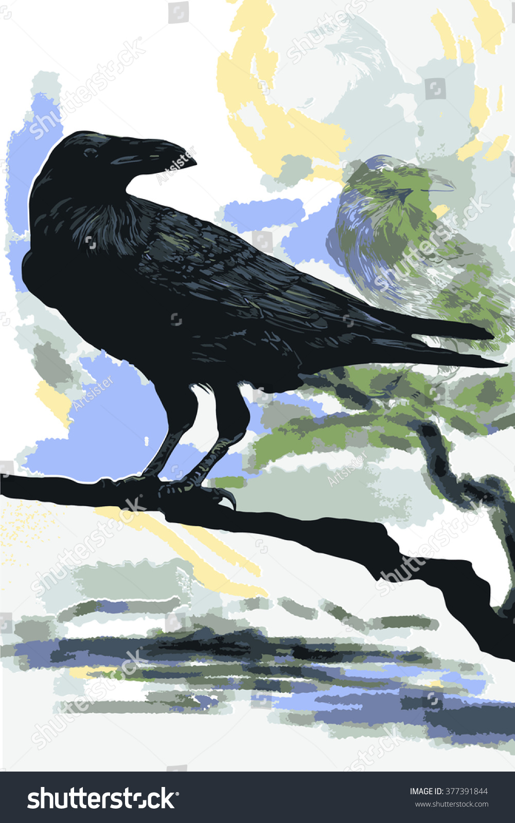 Digital Painting Raven Symbol Relationship Between Stock