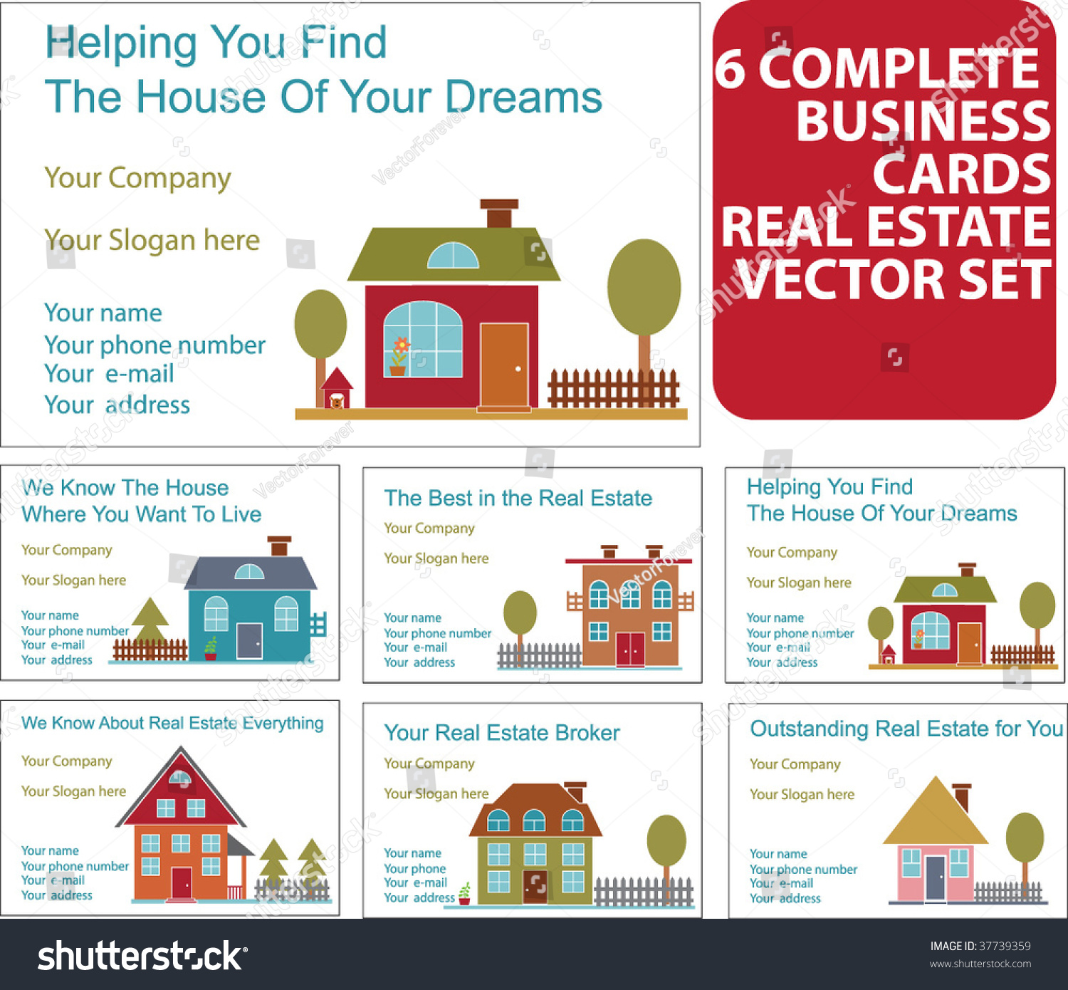 6 business real estate cards vector stock vector 37739359 shutterstock 6 business real estate cards vector reheart Images