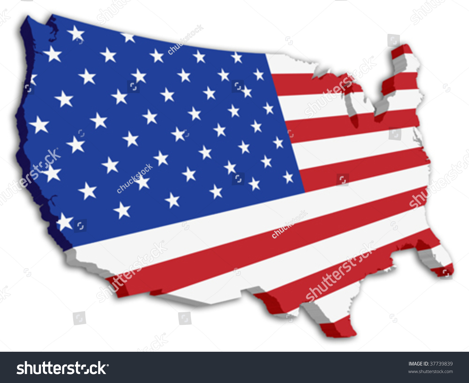 Usa D State Flag Map Stock Vector Shutterstock - Us map with state flags