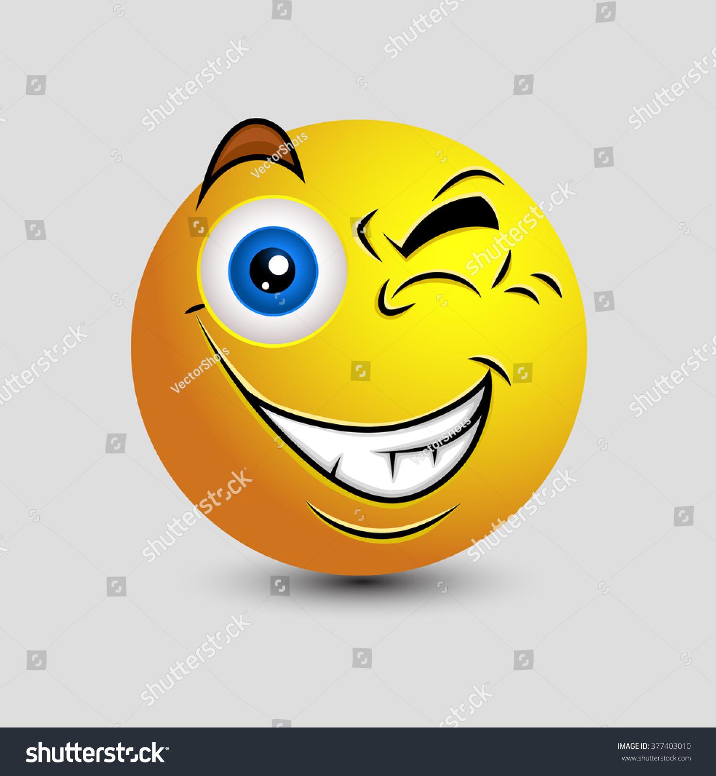 Naughty eye blink emoticon smiley stock vector 377403010 naughty eye blink emoticon smiley biocorpaavc
