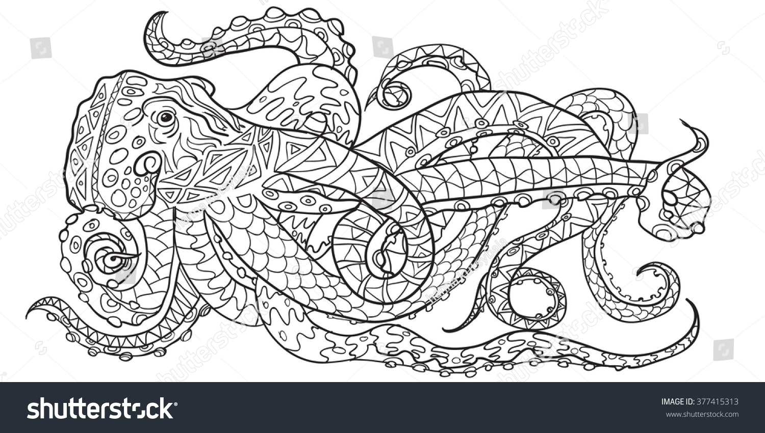 Hand Drawn Coloring Pages With Octopus, Zen Tangle Illustration For Adult  Anti Stress Coloring Books