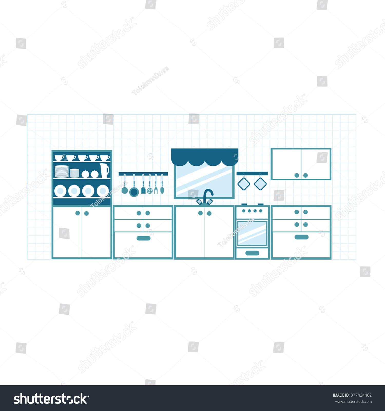Kitchen Furniture Blue Tones Different Dishes Stock Illustration ...