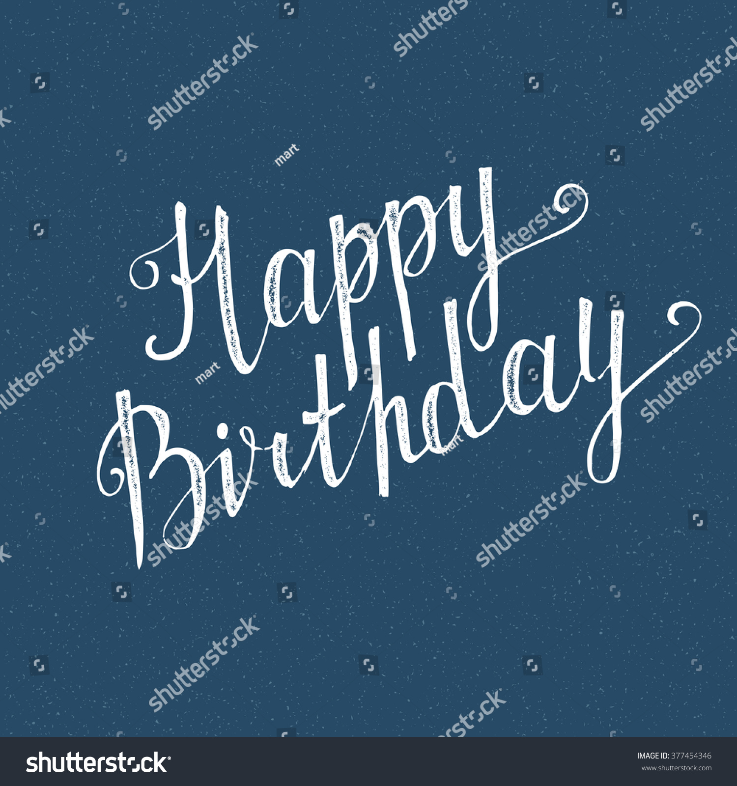 Happy birthday sign in elegant black script type with ornament - Happy Birthday Handwritten Lettering On Blue Background