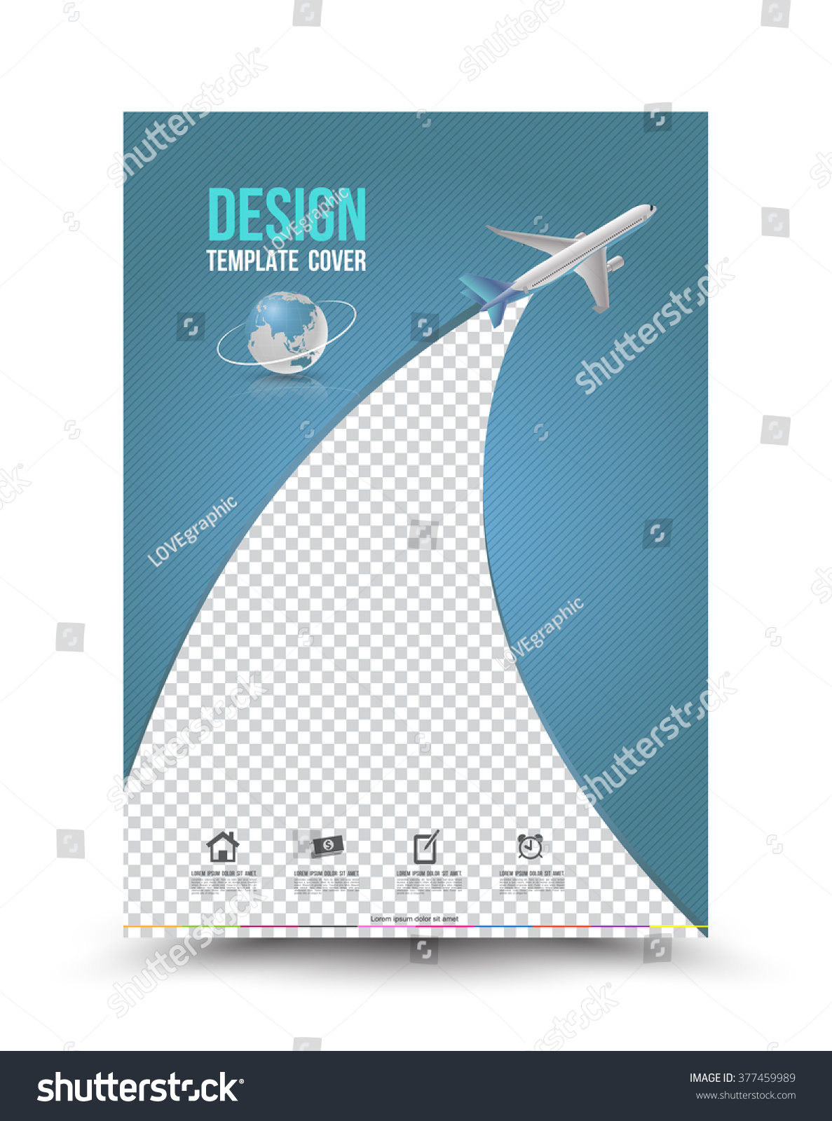 Cover Page Layout Template Paper Airplane Vector 377459989 – Book Report Cover Page Template