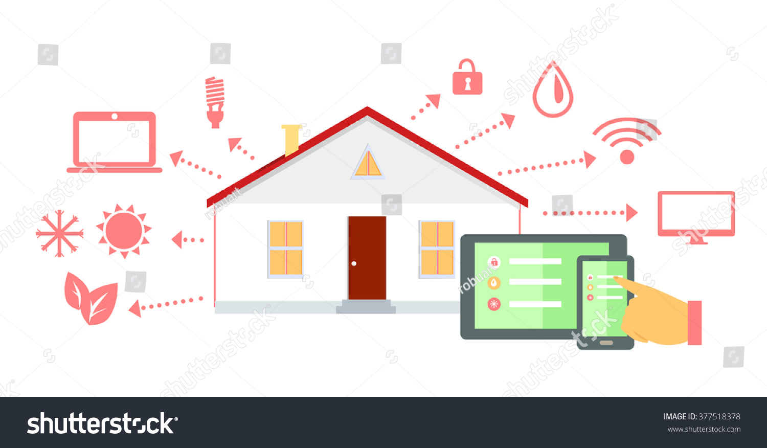 Smart House Concept Icon Flat Design Stock Illustration 377518378 ...