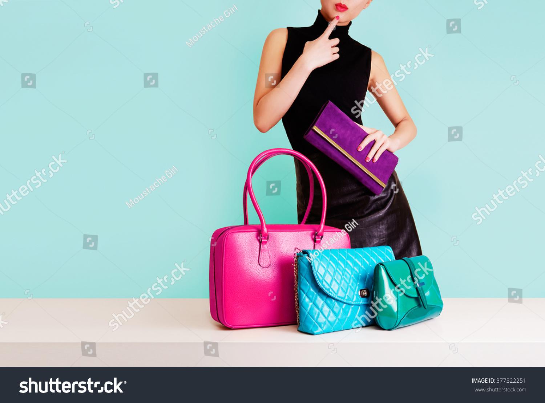 Woman Choosing Bag Many Colorful Bagsisolated Stock Photo ...
