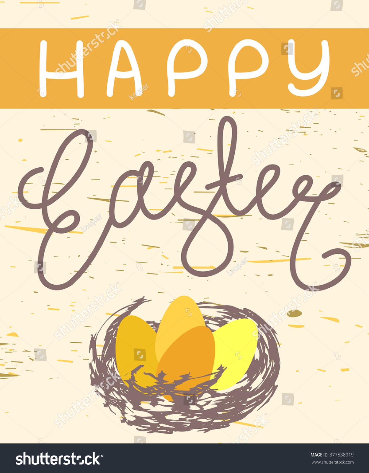 Happy Easter Greeting Card Handwritten Trendy Stock Vector 2018