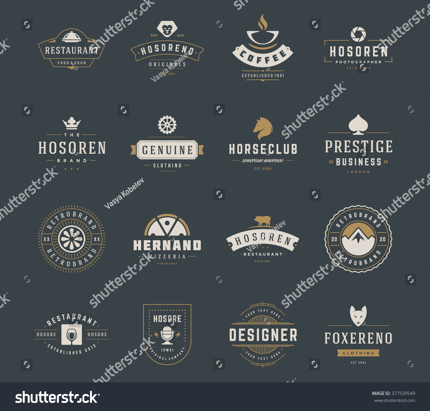 Vintage Logos Design Templates Set Vector design elements Logo Elements Logo symbols Logo Icons Logos Vector Symbols Design Retro Logos Fox Head Logo Mountain Logo Ornament Logo Crown Logo