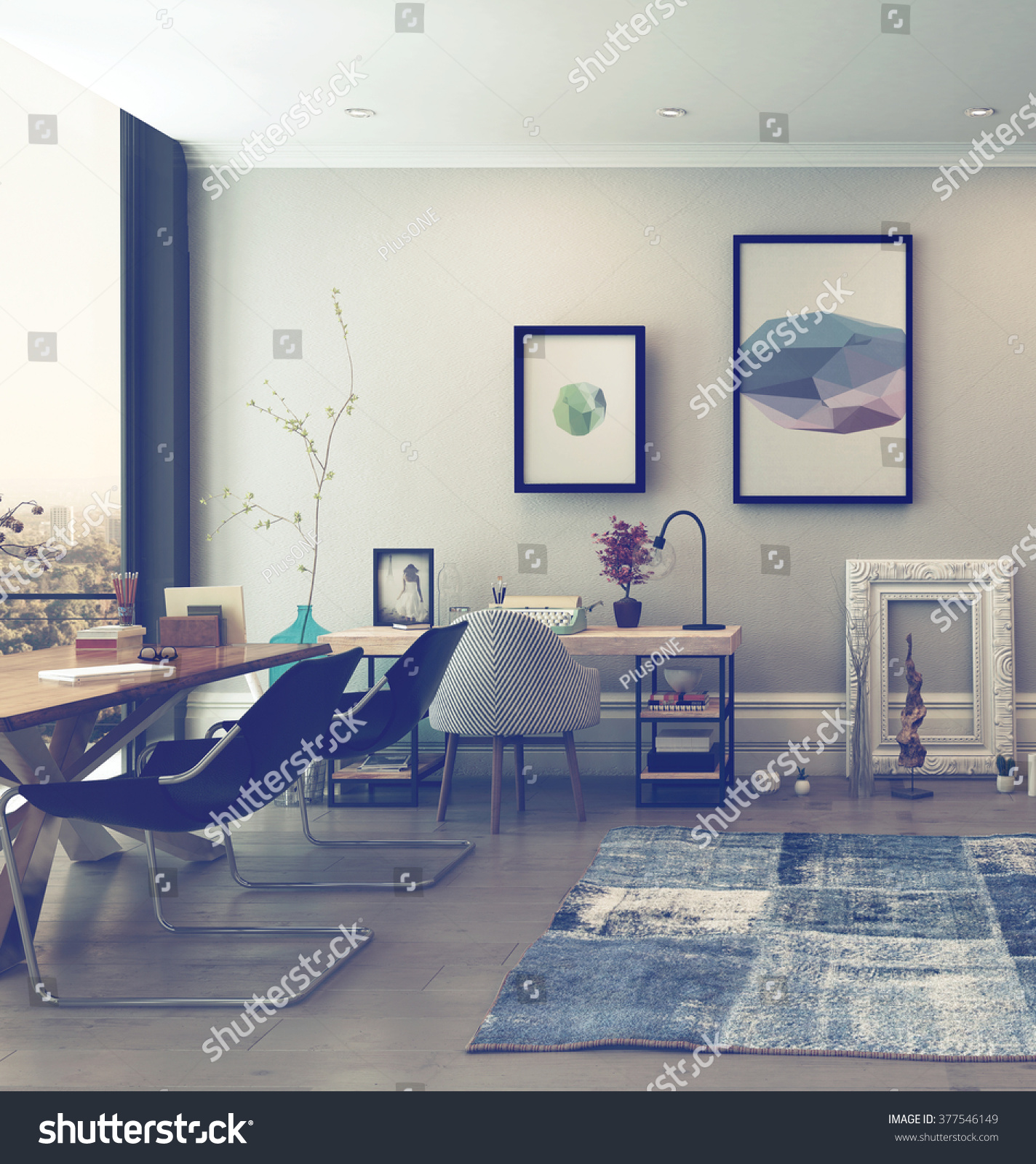 eclectic home office. Open Concept Home Office Space With Eclectic Furnishings In Modern High Rise Apartment Large Window D