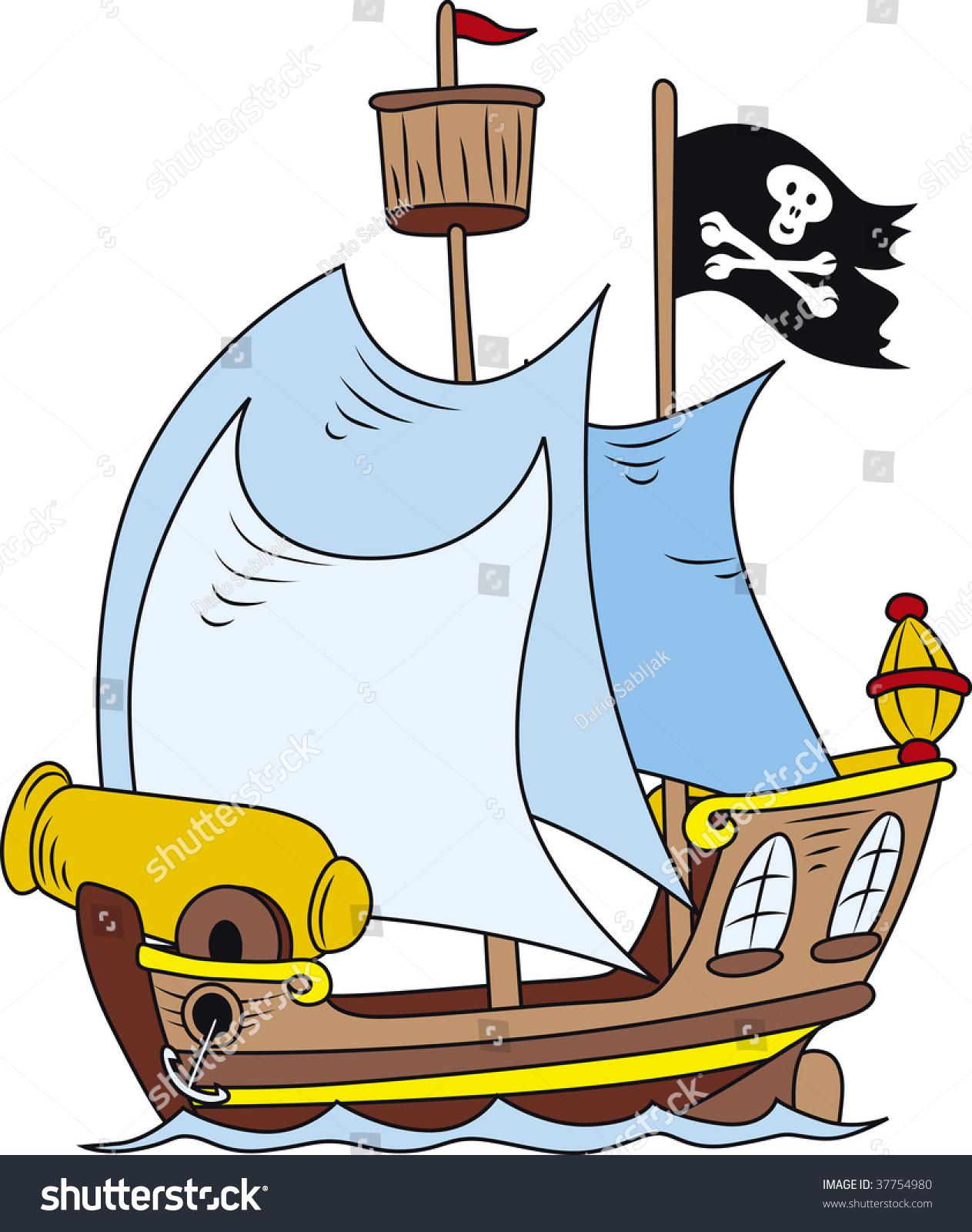 Cartoon Illustration Of Pirate Ship - 37754980 : Shutterstock