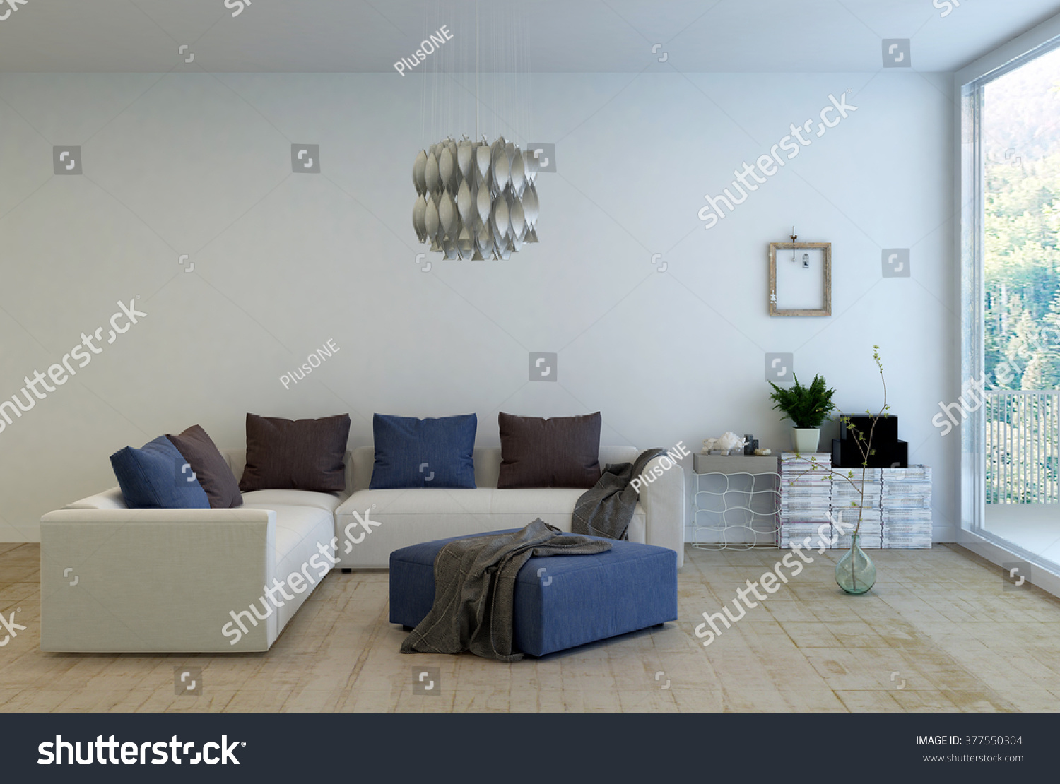 Living Room Interior Decorated Simple Furnishings Stock