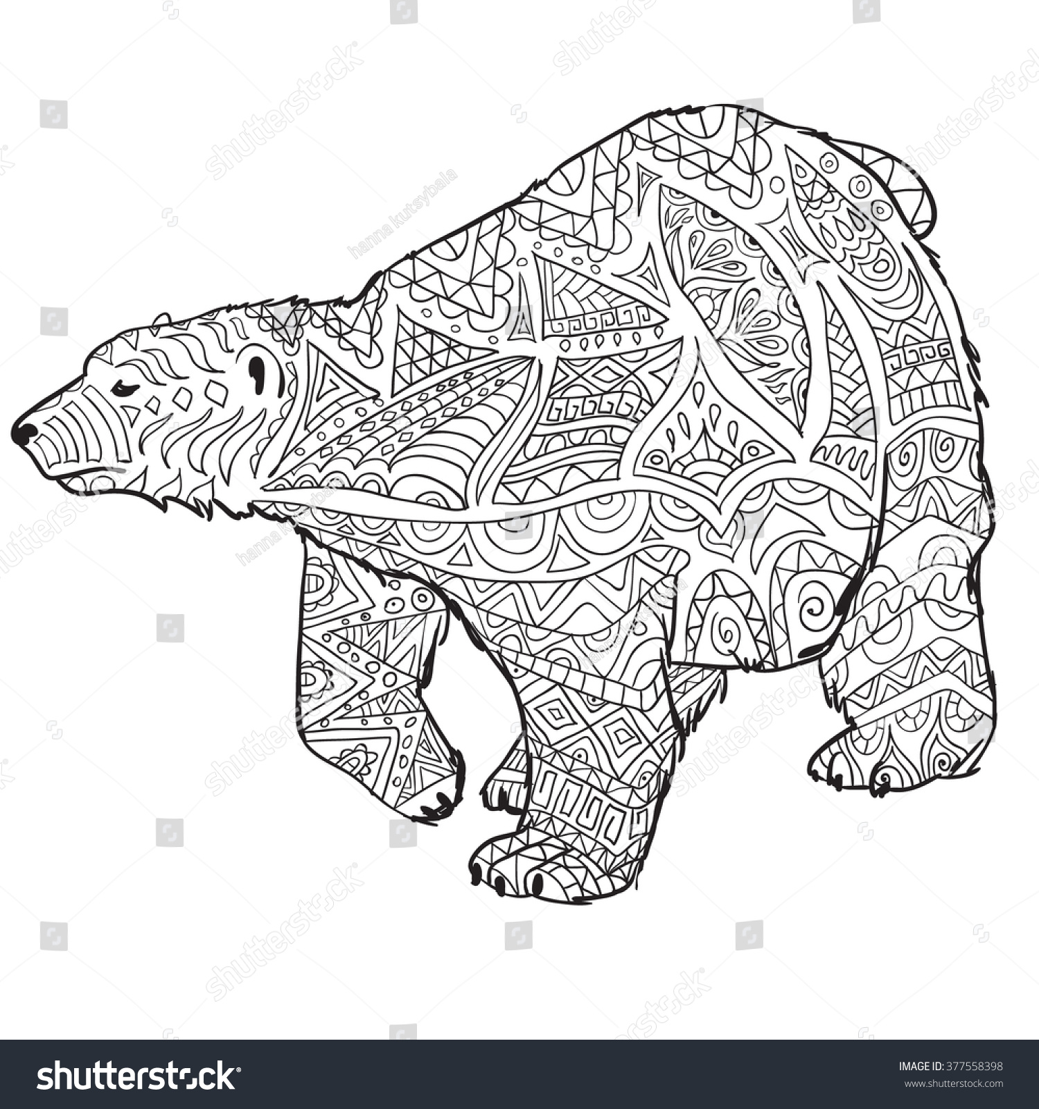 Hand Drawn Coloring Pages With Polar Bear Zentangle Illustration For Adult Anti Stress Books
