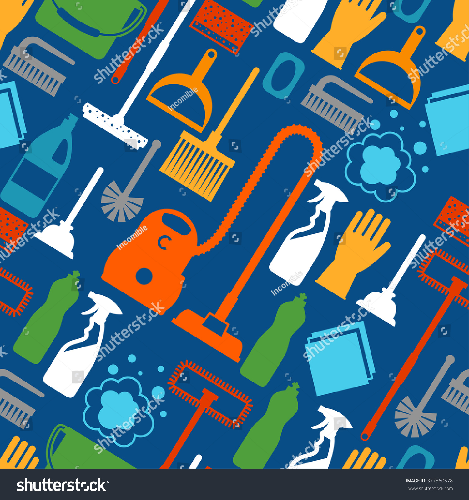 Housekeeping lifestyle seamless pattern cleaning icons for Design home gift paper inc