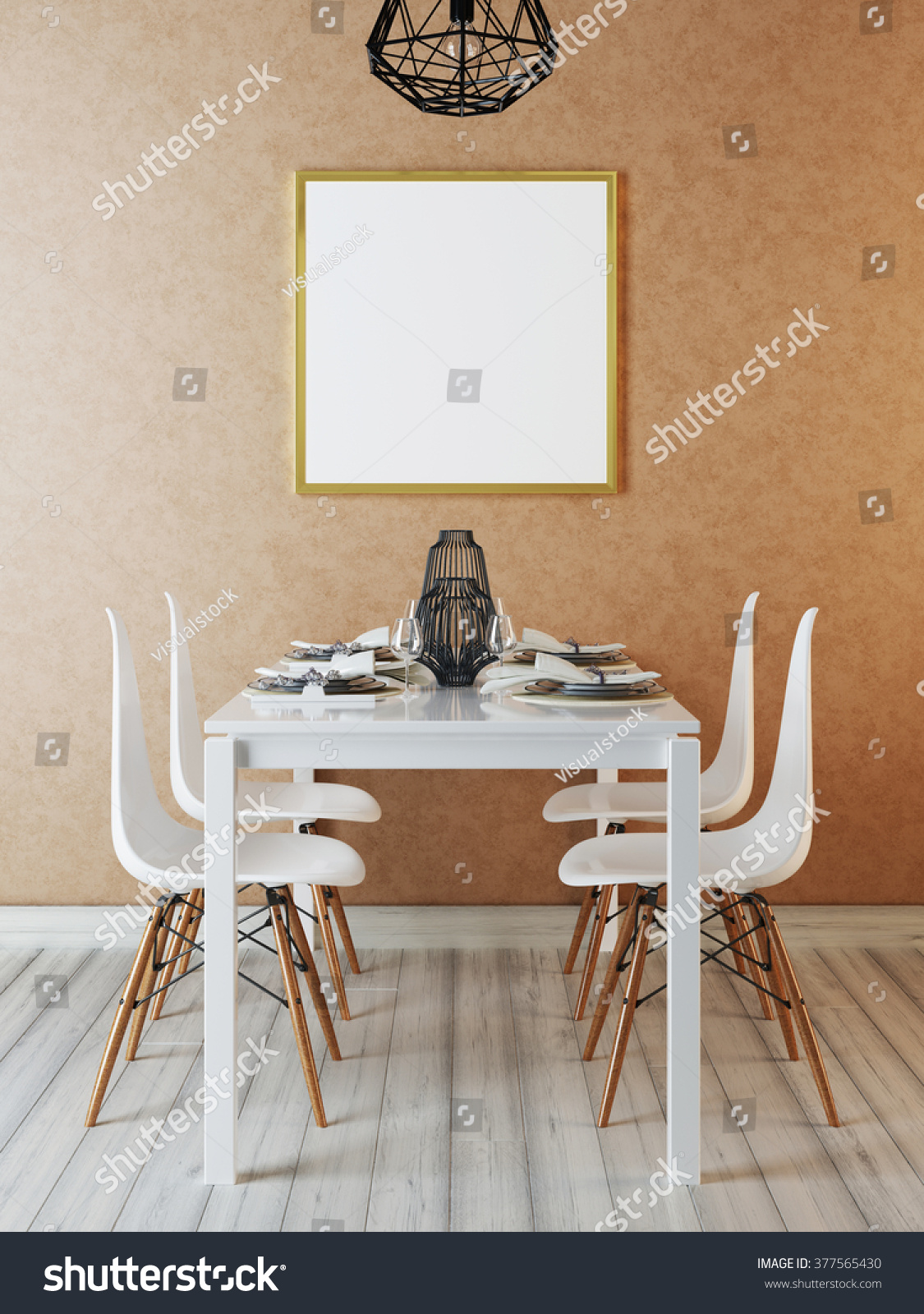 mockup poster in the interior dining room. contemporary dining in