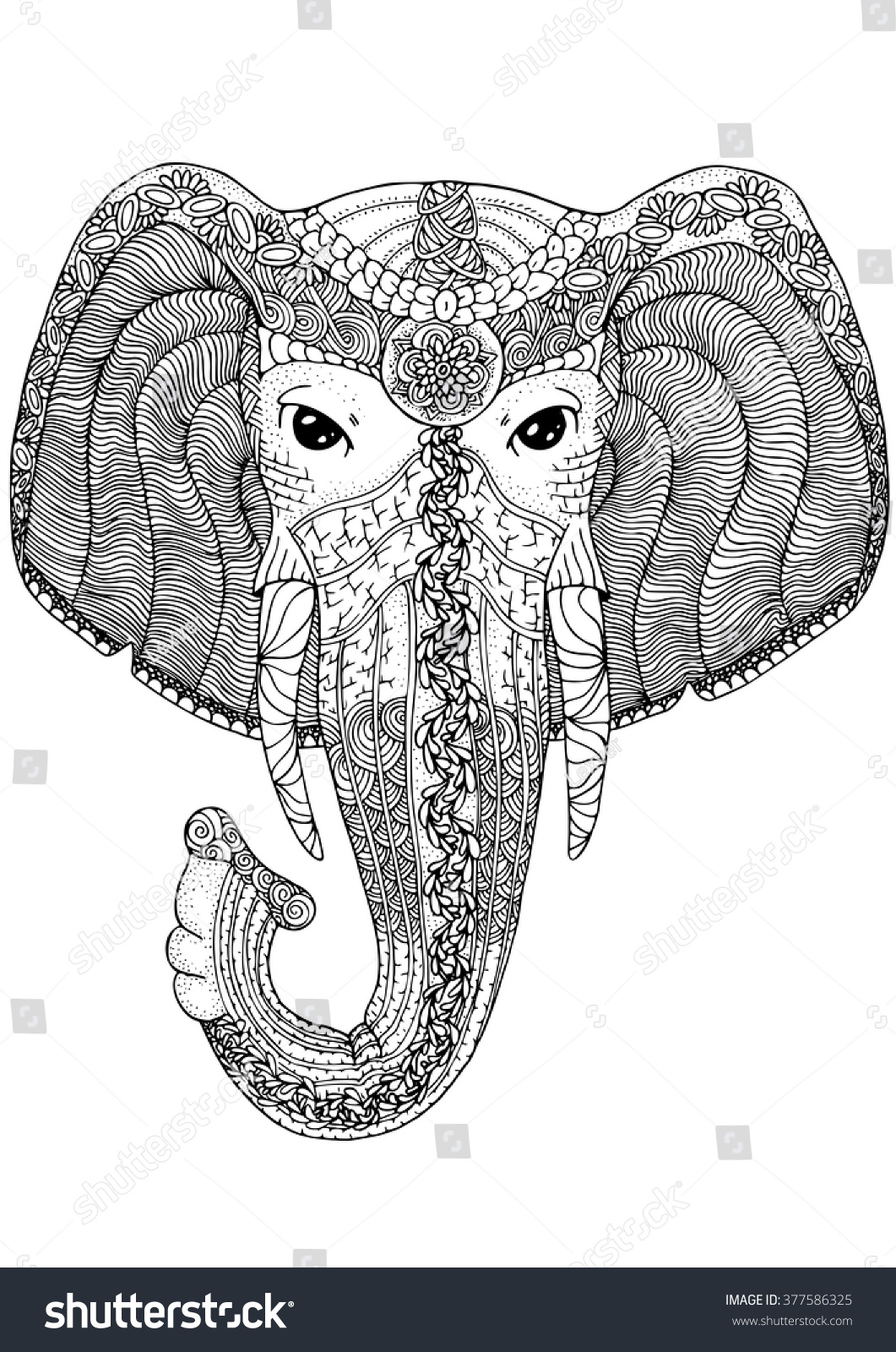 Zentangle Ornamental Elephant Adult Coloring Pages Hand