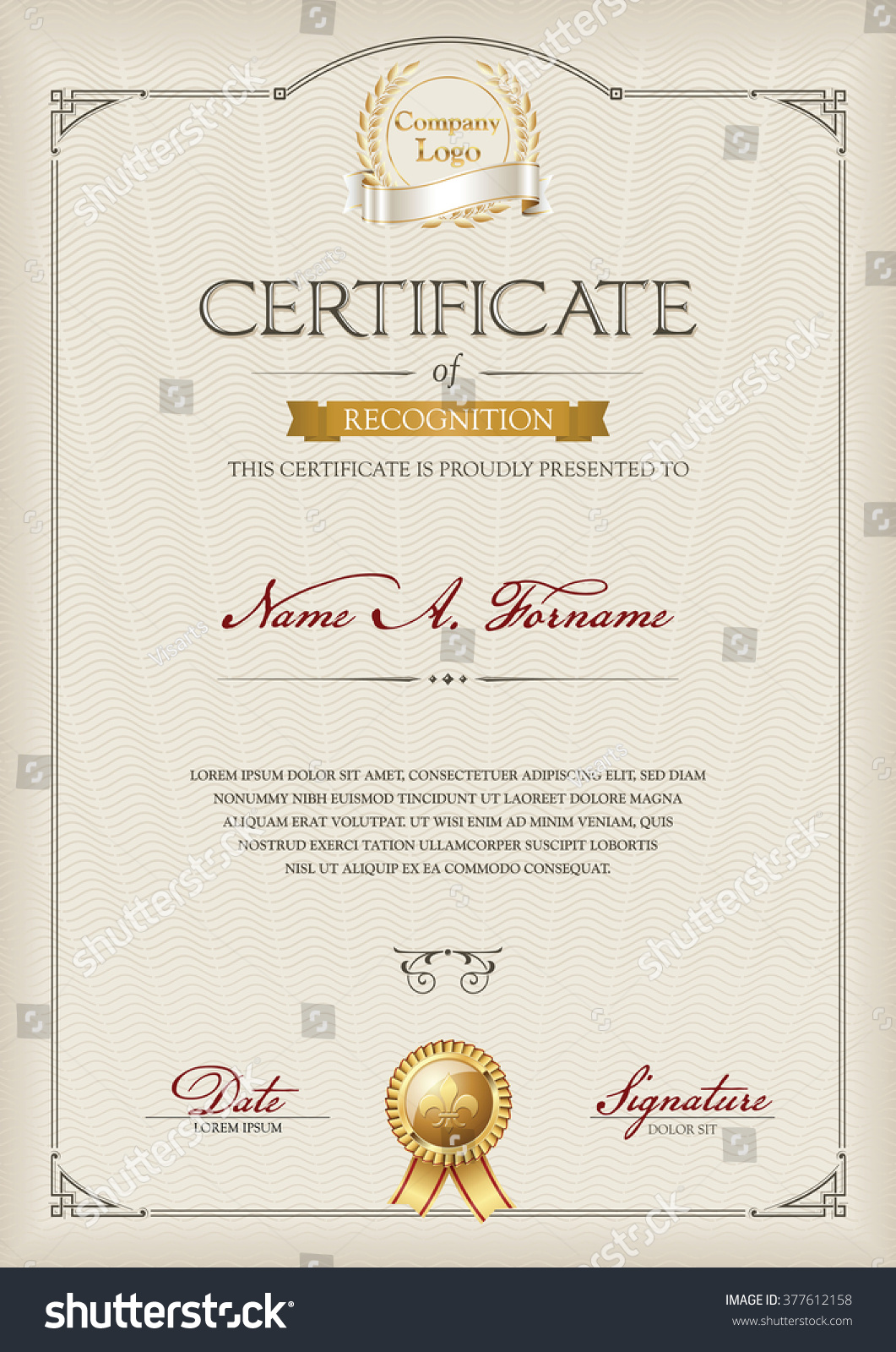 certificate recognition portrait vintage frame stock vector 377612158