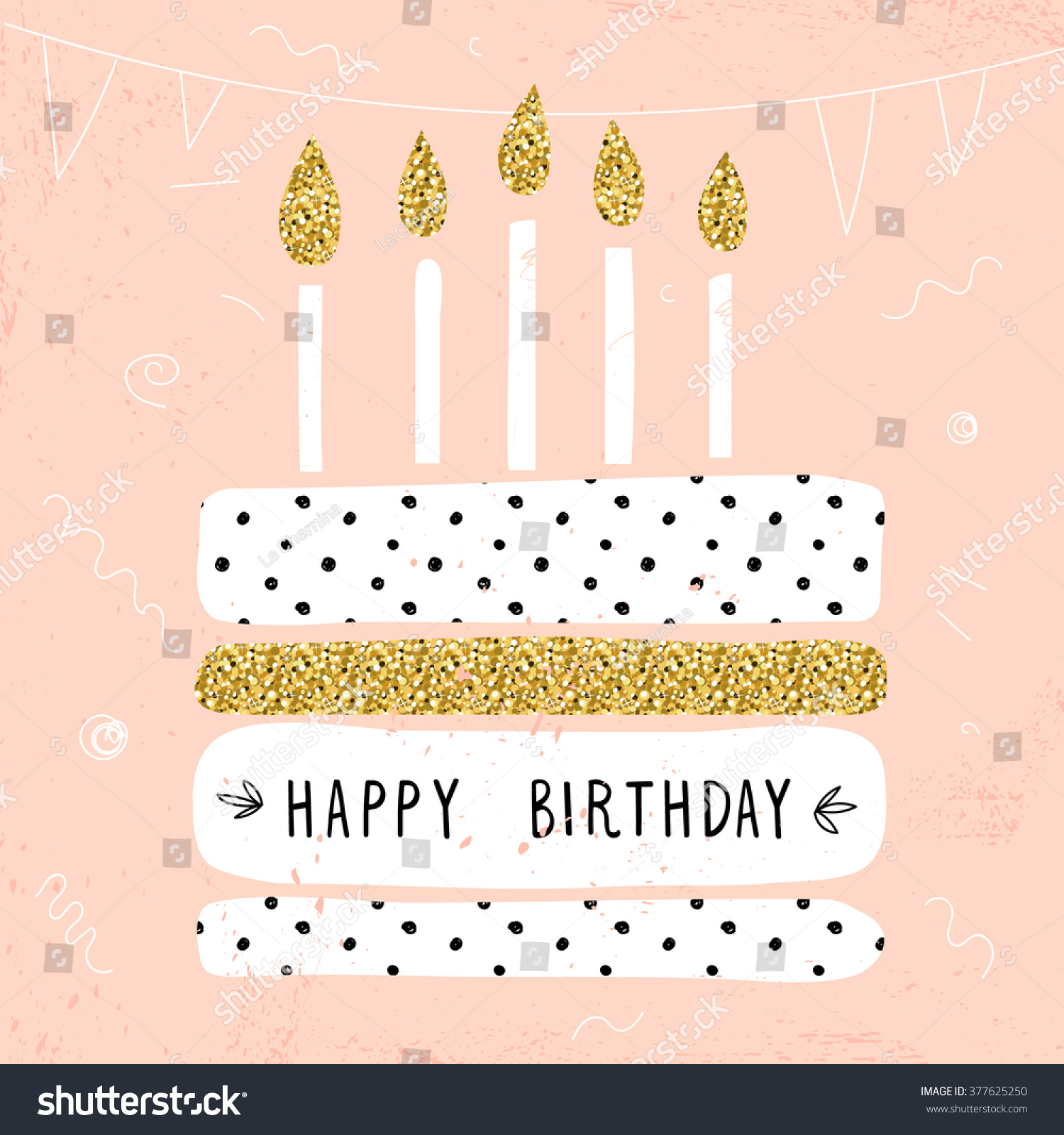 Cute Happy Birthday Card With Cake And Candles. Vector