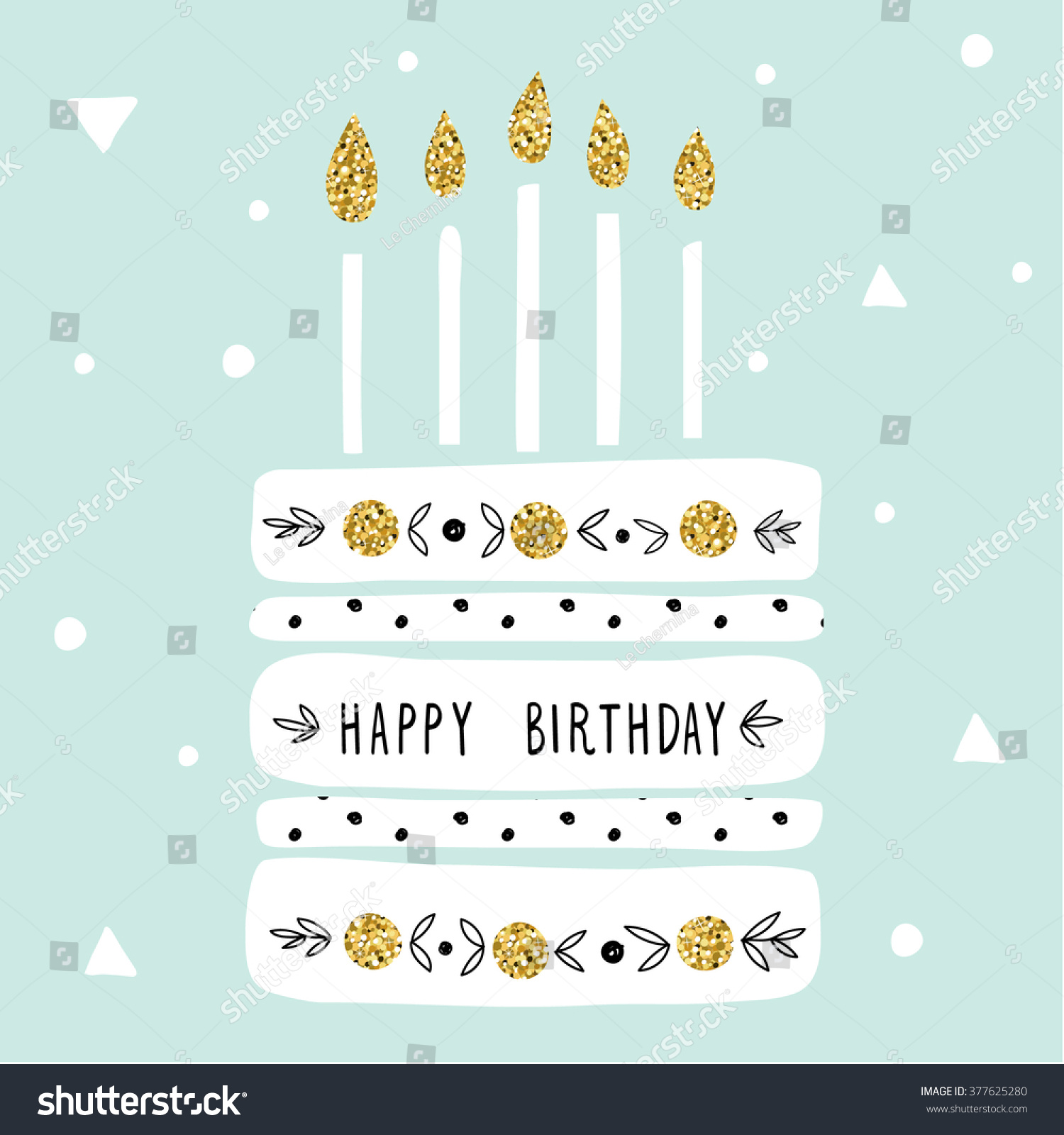 Cute Happy Birthday Card Cake Candles Vector 377625280 – Cool Happy Birthday Card
