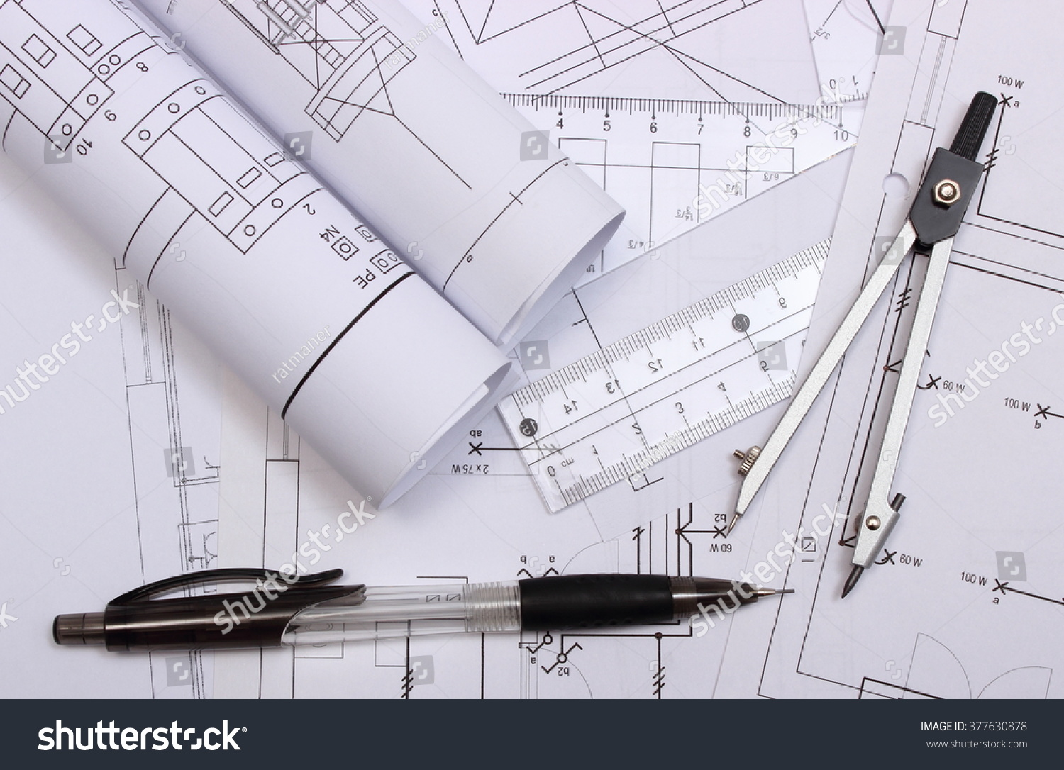 Rolls Electrical Diagrams Accessories Drawing Lying Stock Photo Engineering Of And For On Construction House Drawings