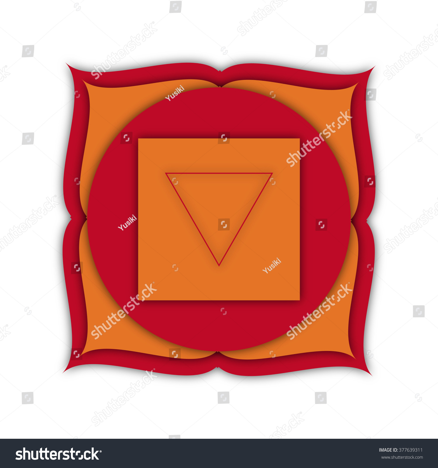Root Chakra Symbol With Sparkling Glitter Background For Yoga