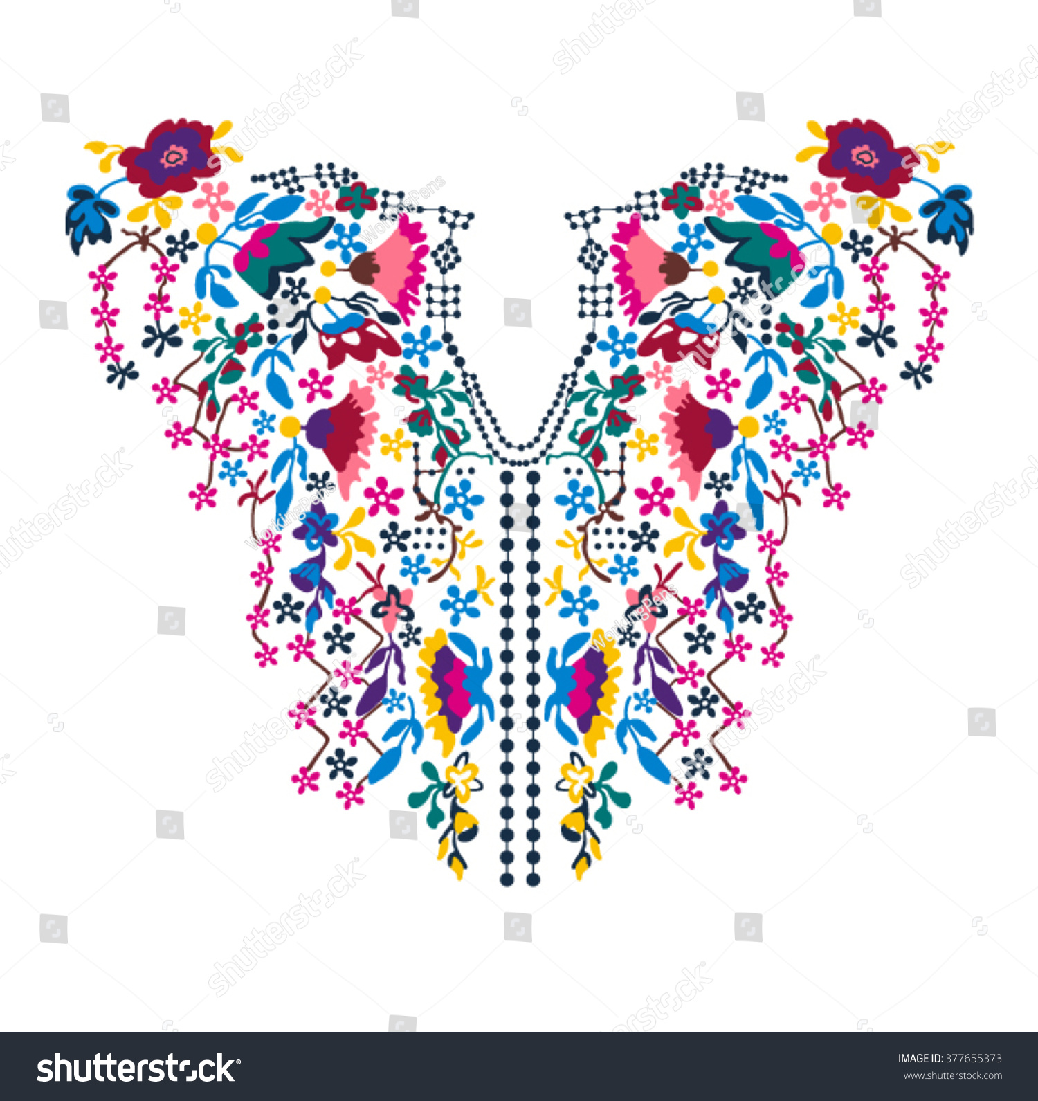 Neck embroidery in vector