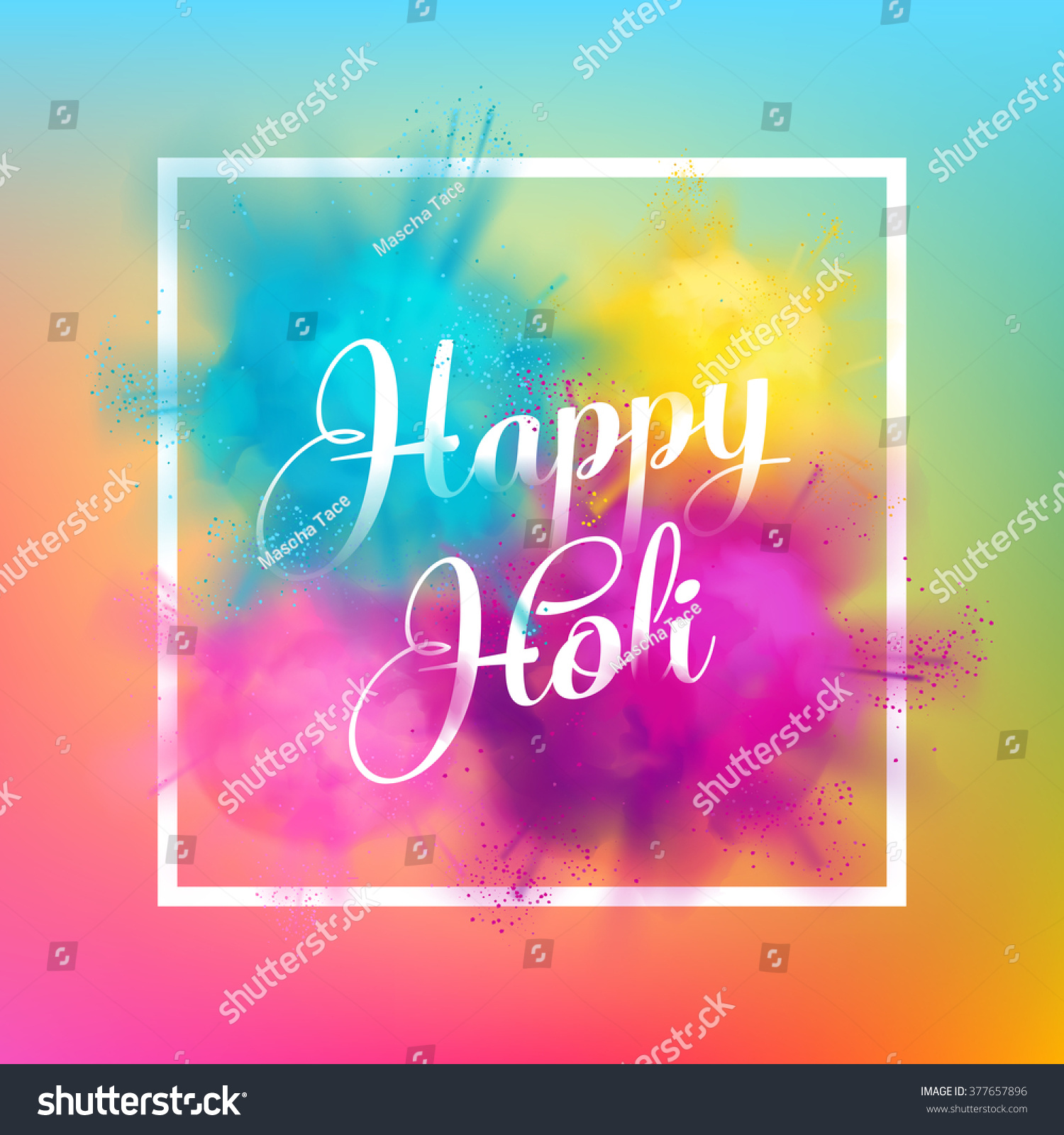 Happy Holi Spring Festival Colors Greeting Stock Vector