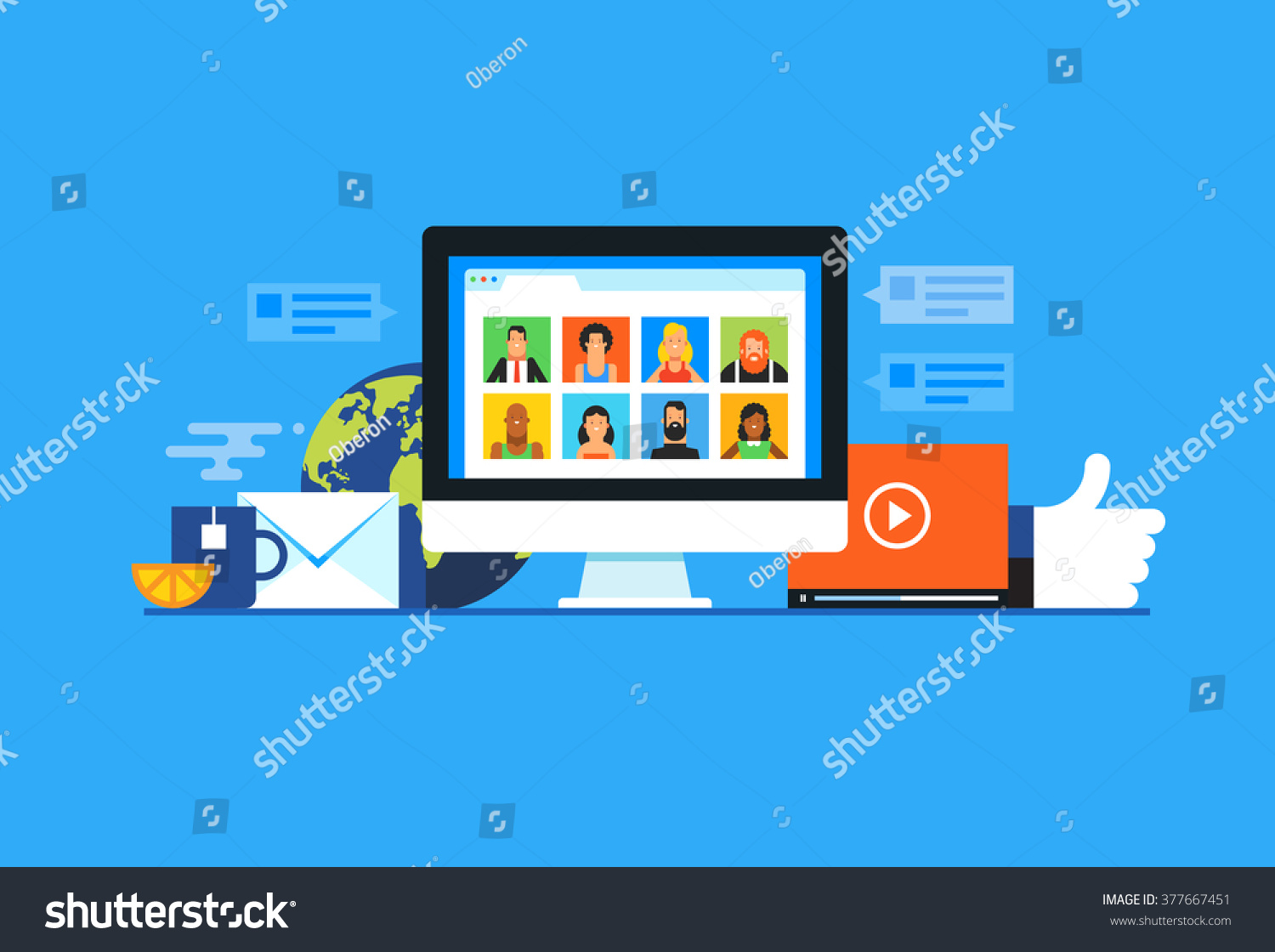 Social media. Flat design modern vector illustration concept. #377667451