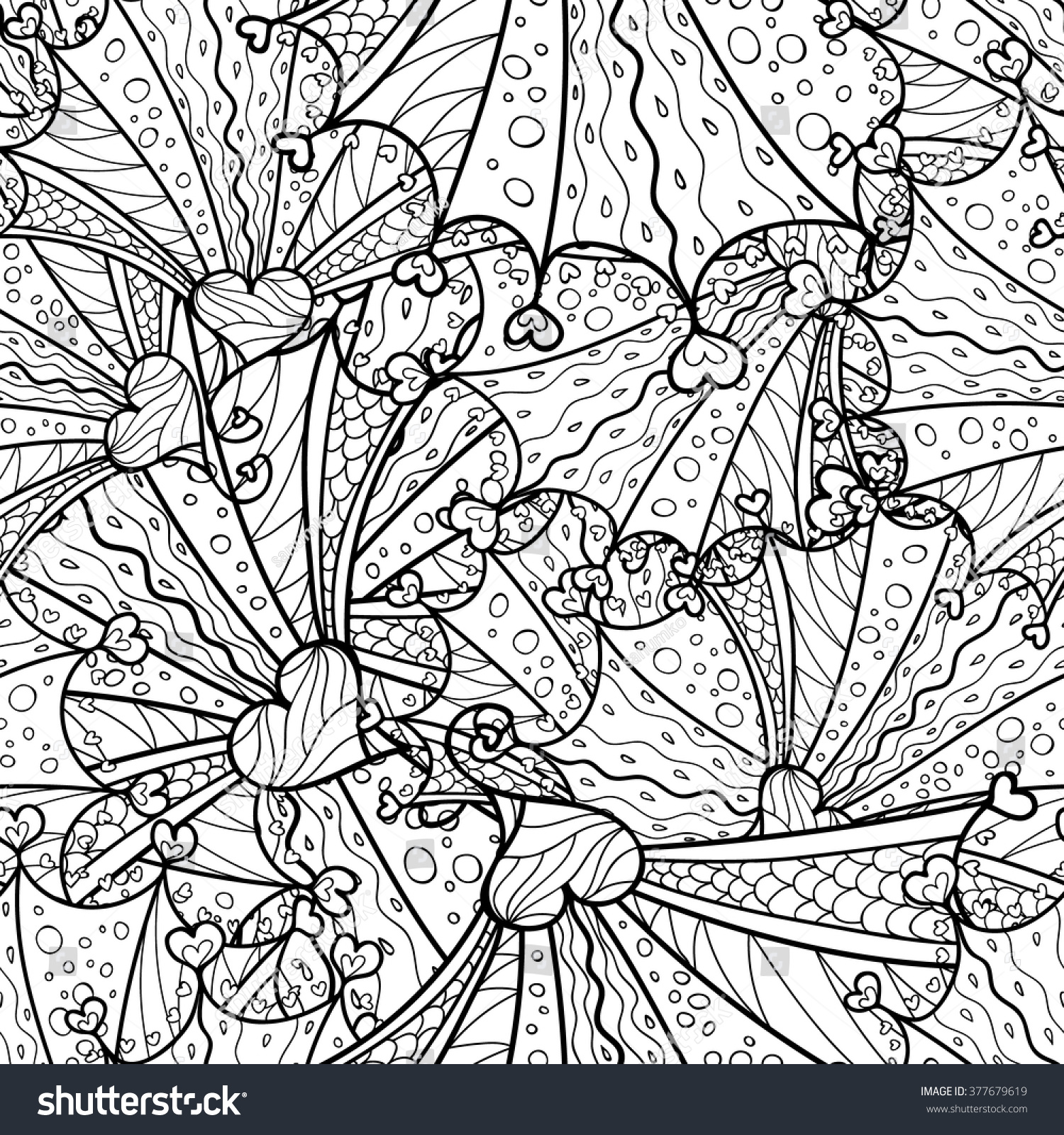 vector doodle seamless pattern coloring book stock vector