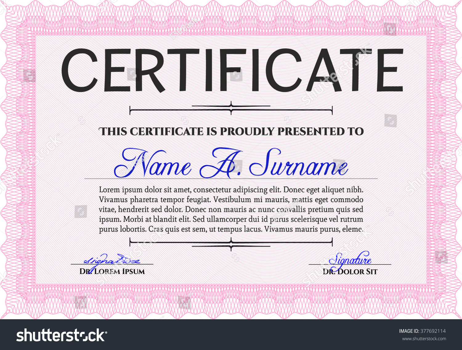 Awesome Certificate Template. Award. Money Pattern. With Great Quality  Guilloche Pattern. Pink  Money Certificate Template