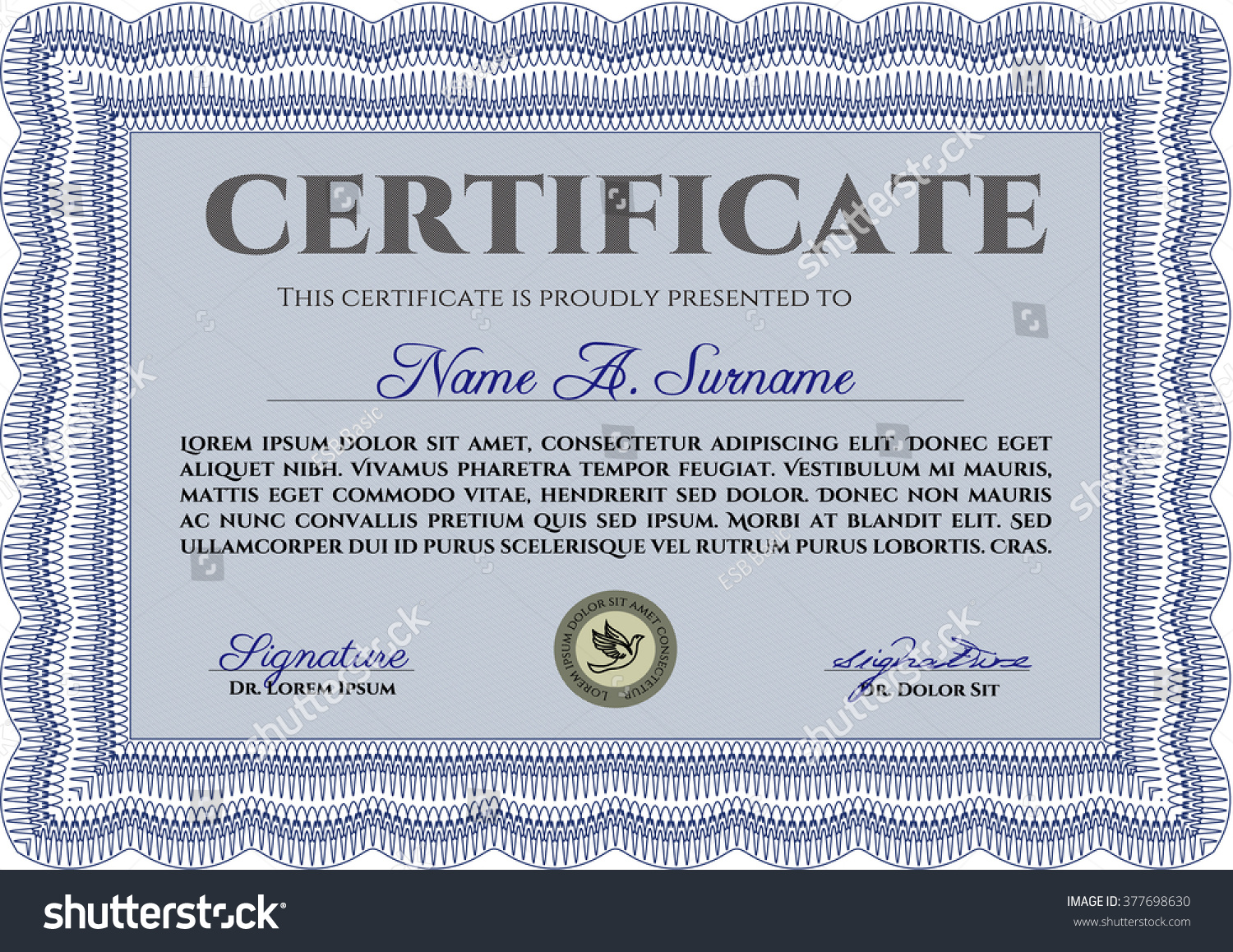 Sample certificate frame certificate template vector stock vector sample certificate frame certificate template vector with linear background modern design blue yelopaper Image collections