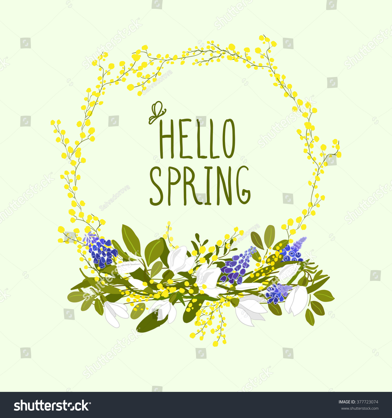 Cute spring flower - Cute Hand Drawn Wreath Of First Spring Flowers And Hand Written Text Hello Spring Greeting