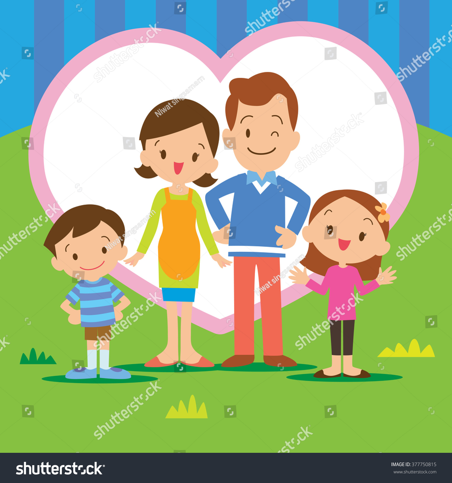Portrait four member family posing together portrait of four member family posing together smiling happy with heart background voltagebd Images