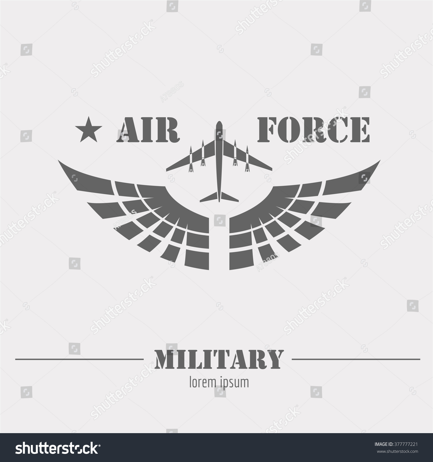 military logo badge air force graphic stock vector 377777221 shutterstock. Black Bedroom Furniture Sets. Home Design Ideas