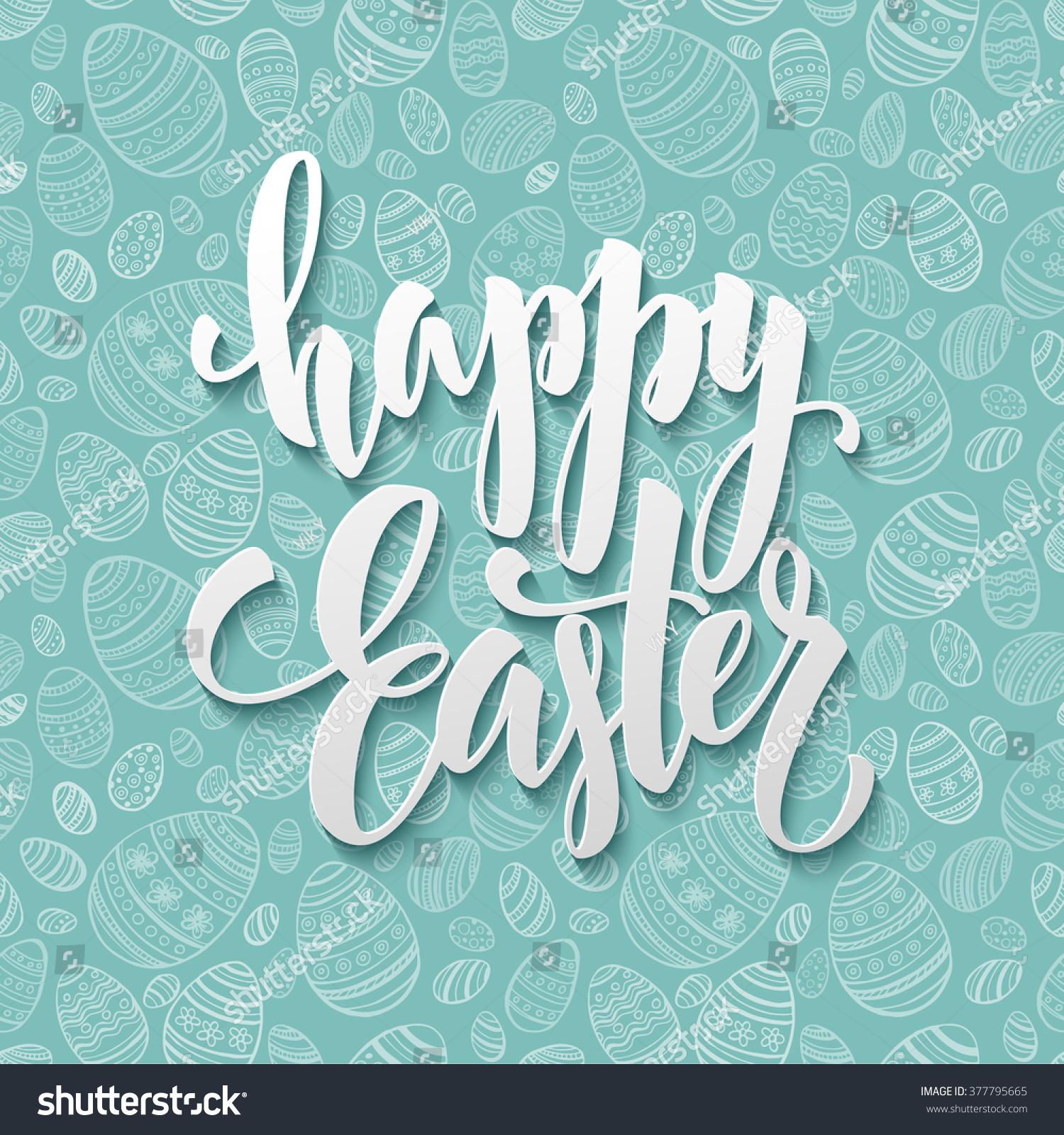 Happy Easter Egg Lettering On Seamless Stock Vector ...
