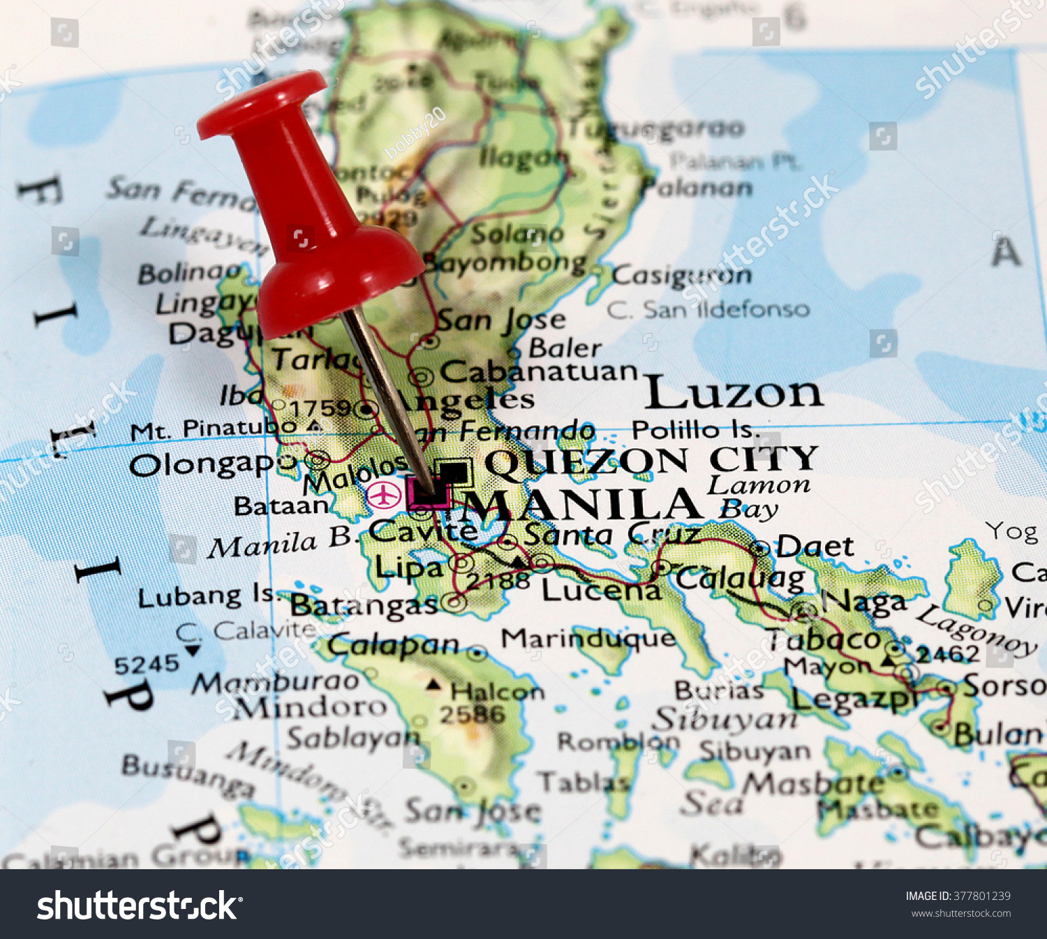 Map Pin Point Manila On Philippines Stock Photo Edit Now 377801239