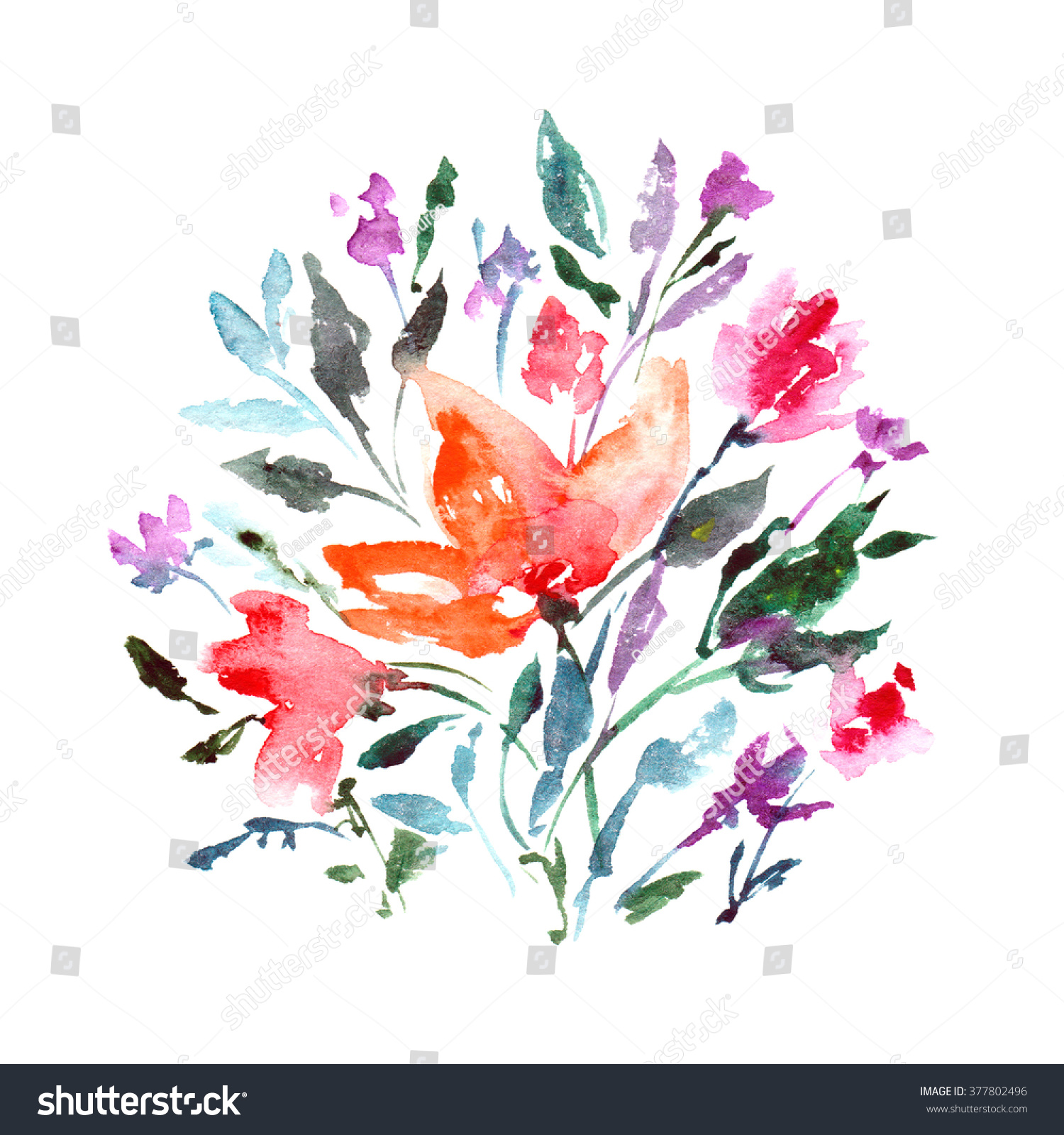 Flowers Watercolor Floral Background Floral Birthday Card Floral